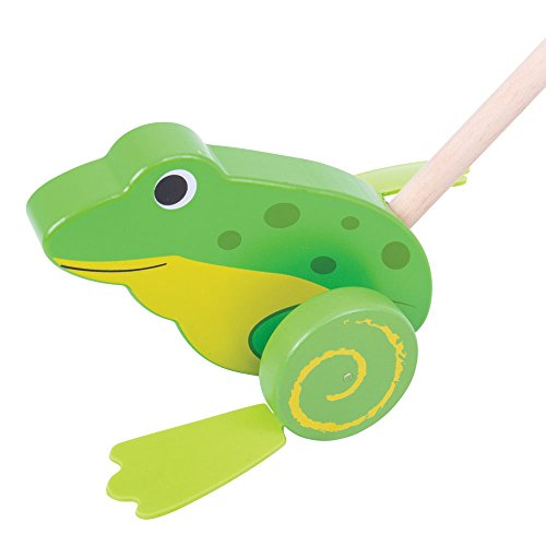 Bigjigs Toys Wooden Frog Push Along - Walking Toys for Ba...
