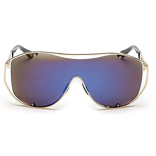 en lunettes hommes lentille métal de Sport conduite pour lunettes soleil Oversized soleil Coloré One Lens les PC femmes Big Lens protection Piece UV cadre de Rétro et les de soleil Bleu lunettes Lady Style vBAP6q