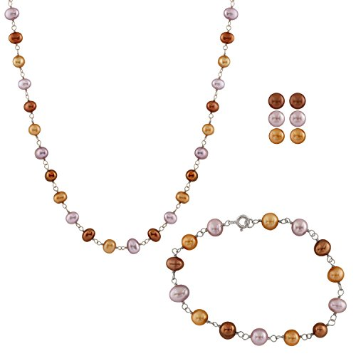 Handpicked AAA+ Chocolate, Purple and Yellow 6.5-7mm Freshwater Culture Pearl 18'' Necklace 7.25'' Bracelet and Button Earrings Set 925 Sterling Silver ()