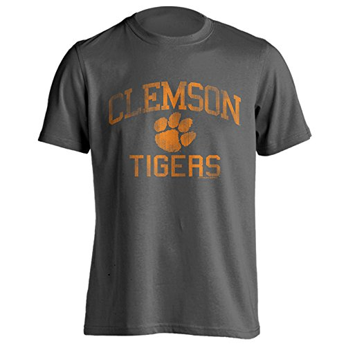 University Clemson Logos (Clemson University Tigers Distressed Retro Logo Tiger Paw Ash Heather Short Sleeve T-Shirt (Charcoal, S))