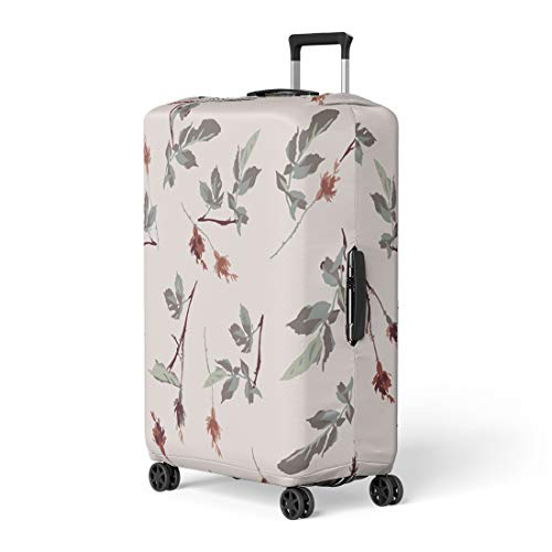 (Semtomn Luggage Cover Green Flower Romantic Leafy Rosebud Pattern Cream Off Red Travel Suitcase Cover Protector Baggage Case Fits 22-24 Inch)