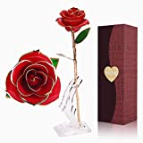 PYBBO 24k Red Gold Rose, Plated Rose Gold Dipped Rose Everlasting Long Stem Real Rose with Exquisite Holder, Unique Romantic Gift for Valentine's Day, Anniversary, Birthday and Mother's Day