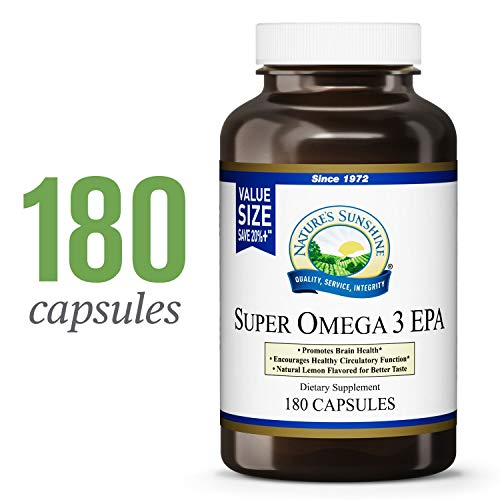 Natures Sunshine Super Omega-3 EPA, 180 Softgels | Supports Brain Health, Encourages Healthy Circulatory Function, and Includes Lemon Oil for Improved Taste