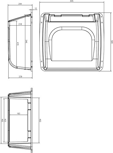 Dolphin T Tops Overhead Marine Electronics E Box ✮ Fishing Boat Tower Center Console Ebox 25x23x10 Locking Smoked Glass Stereo Radio Head Storage Water Resistant Fiberglass