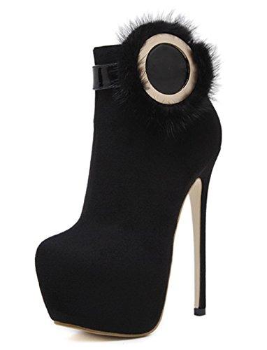 HETAO Persönlichkeit Heels Frauen-Damen-Art- und WeiseAbsatz-Knöchel-Aufladungen schnüren sich oben Plattform-Plattform-Aufladungen Temperament elegante Schuhe Black