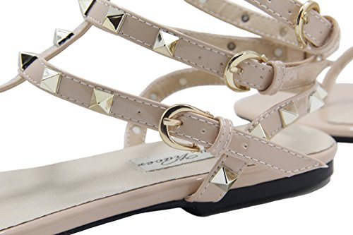 Flats Yiuoer Royou Leather Women's Nude T strap Beach Sandals Sandals Gladiator Studded 4x8xTw