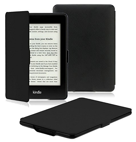 OMOTON Kindle Paperwhite Case Cover - The Thinnest and Lightest PU Leather Smart Cover for All-New Kindle Paperwhite (Fits All versions: 2012, 2013, 2014 and 2015 All-new 300 PPI Versions), Black