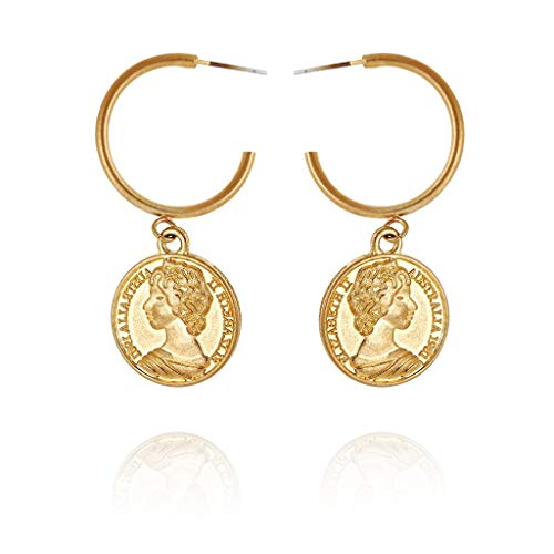 - YaochenYW Art Face Dangle Earrings for Women - Abstract Modeling Retro Earrings, Great for Party, Wedding and Daily Use (Gold Hoop Queen)