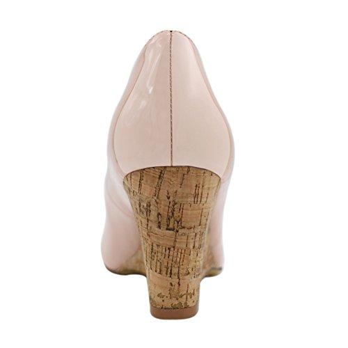 EKS Damen Rond Toe Holz Wedges High Heels Keilabsatz Pumps Kleid Schuhe Nackt-Lackleder