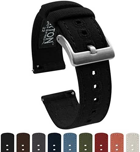 BARTON Canvas Quick Release Watch Band Straps - Choose Color & Width - 18mm, 20mm, 22mm - Black 22mm