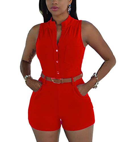 (Ophestin Womens Casual Solid Color Sleeveless Short Romper Jumpsuit with Belt Red Size XXL)