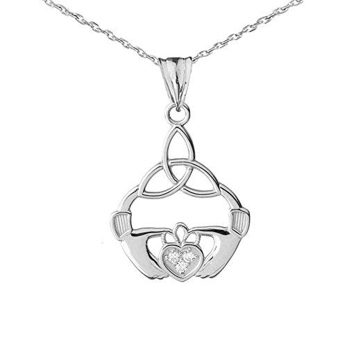 Dazzling 14k White Gold Diamond Trinity Knot Claddagh Charm Pendant Necklace, ()