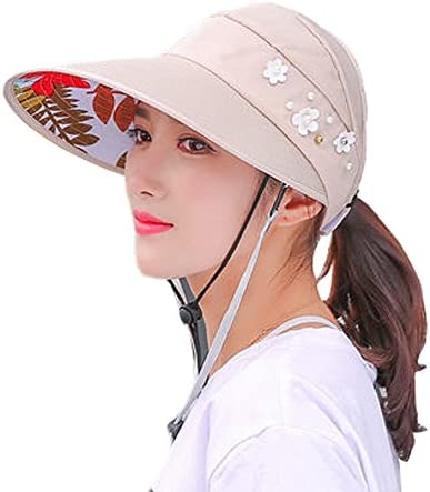 YOOKOON Double Windproof Rope Hat Women Summer Casual Riding Tide Anti-UV Korean Version of Spring and Summer Folding Sun hat Visor UPF 50