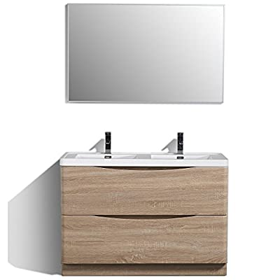 Eviva EVVN12-DS-48WHOK-FS Smile 48 inch White-Oak Modern Bathroom Vanity Set with Integrated White Acrylic Double Sink Combination, White Oak - Assembled & ready for installation White Acrylic double sink included Soft closing drawers (2 functional drawers) - bathroom-vanities, bathroom-fixtures-hardware, bathroom - 419PJREmFRL. SS400  -