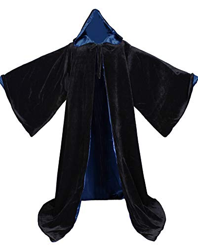 LuckyMjmy Velvet Wizard Robe with Satin Lined Hood and Sleeves (Black-Navy Blue)