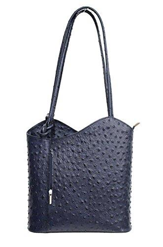 DW-Accessoires - elegante Leder Handtasche - Schultertasche - Rucksack - 2in1 Handtasche - Straußenleder-Design - blau - Made in Italy