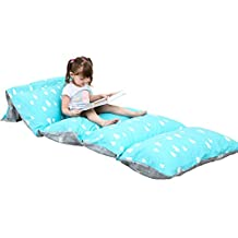 DrCosy Lounger Cushion Cover, Floor Pillow Case for Kids Adults Indoor Outdoor Activities (Blue w/Trees)