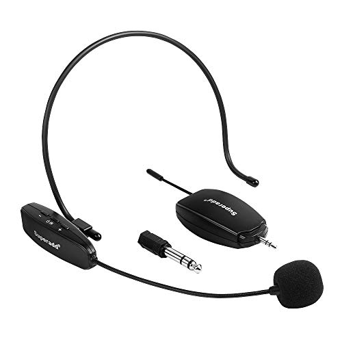 ARCHEER UHF Wireless Headset Microphone, Headworn and Handheld Mic with Rechargeable Transimitter&Receiver, Perfect for Teaching, Meeting, Yoga, Training, Presentation, Conference etc. ()