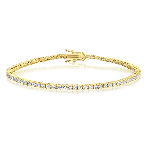 Yellow Gold Plated Sterling Silver Round Cut 2mm Cubic Zirconia Tennis Bracelet 6.5 (Yellow Gold Cubic Zirconia Bracelet)