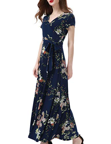 Aphratti Women's Bohemian Casual Short Sleeve V Neck Faux Wrap Floral Maxi Dress X-Large Navy Floral