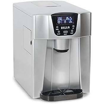 Della 2-in-1 Water Dispenser w/ Built-In Ice Maker Freestanding Machine, 2-Size Cube (26lb per Day) -Silver