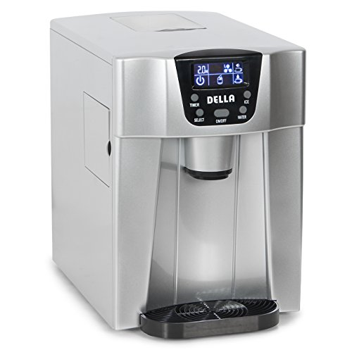 Della 2-in-1 Water Dispenser w/ Built-In Ice Maker Freestanding Machine, 2-Size Cube (26lb per Day) -Silver (Water Ice Dispenser)