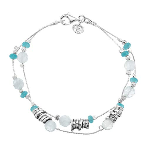 Silpada 'Seaside' Natural Jade & 8 ct Milky Aquamarine Beaded Double-Strand Bracelet in Sterling Silver
