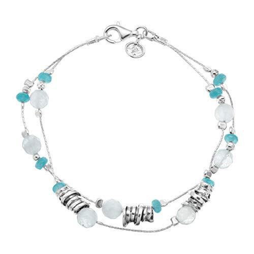 (Silpada 'Seaside' Natural Jade & 8 ct Milky Aquamarine Beaded Double-Strand Bracelet in Sterling)
