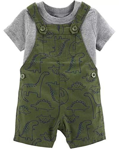 (Carter's 2-Piece Tee & Dinosaur Shortalls Set (9 Months) Green/Gray )