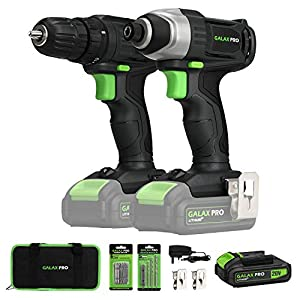 GALAX PRO 20V 2-speeds Drill Driver and Impact Driver Combo Kit, Cordless Drill Driver/Impact Driver, 1pcs 1.3Ah Lithium…