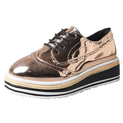 Lace Shoes up Wedge Outdoor Look Leather New Sneaker Gold Sports Platform Loafers Women Casual Leather Outdoor wUIYqY