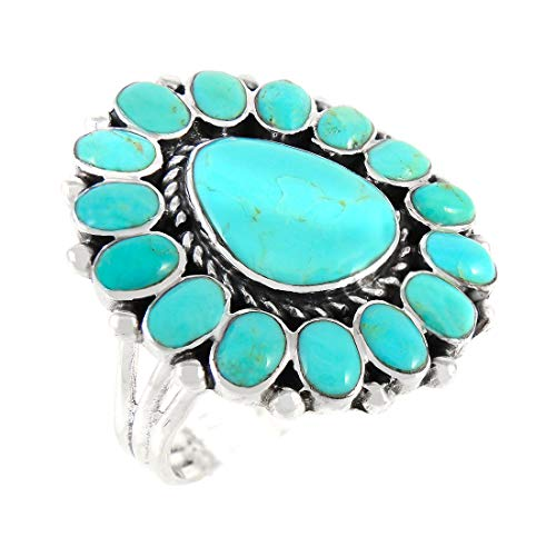 Turquoise Ring Sterling Silver 925 Genuine Gemstones Southwest Style (Turquoise, 9)