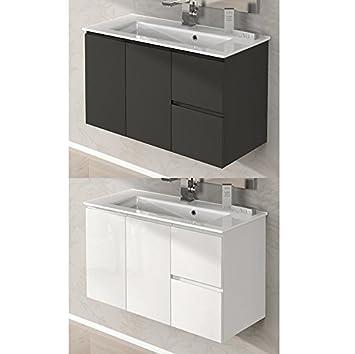 Mobile arredo Bagno Omega 80 cm sospeso con lavabo in Ceramica ...