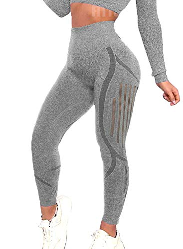 FITTOO Women's High Waist Seamless Leggings Ankle Yoga Pants Tummy Control Running Workout 4 Way Stretch Tights Chic Grey(S)