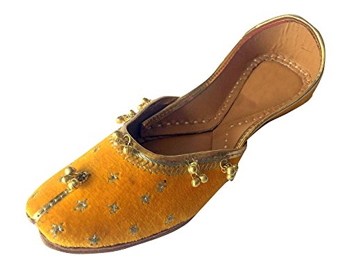 Zapatos Punjabi Ghungroo Mujer n de Amarillo Khussa Step mojari Style jutti xCqwIPnU0