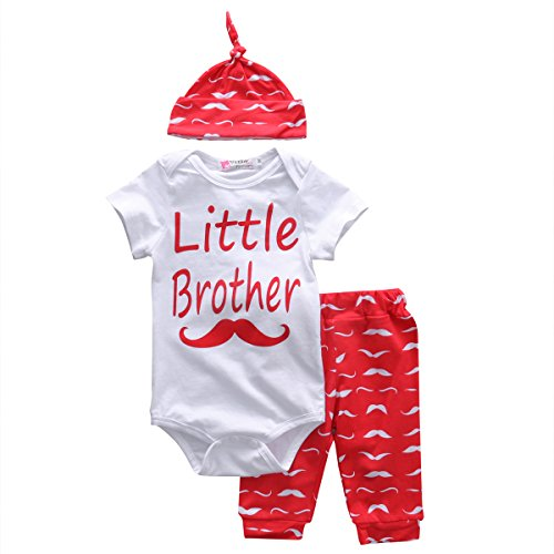 Baby Boys Little Brother Short Sleeve Bodysuit and Beards Pants Outfit with Hat (70(0-3M), White+red)