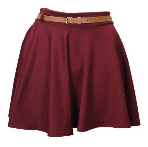 Baleza pantalones de deporte para mujer de alto rendimiento la cintura diseño de Mini cama con patinadores de leopardo falda de Belted Rojo