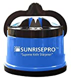 SunrisePro Supreme Knife Sharpener for all Blade Types | Razor Sharp Precision & Perfect Calibration | Easy & Safe to Use | Ideal for Kitchen, Workshop, Craft Rooms, Camping & Hiking (Blue)