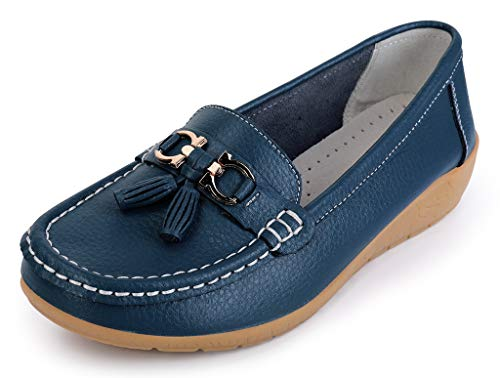 Labato Womens Leather Casual Loafers Slip-ONS Driving Flats Shoes Dark Blue-2