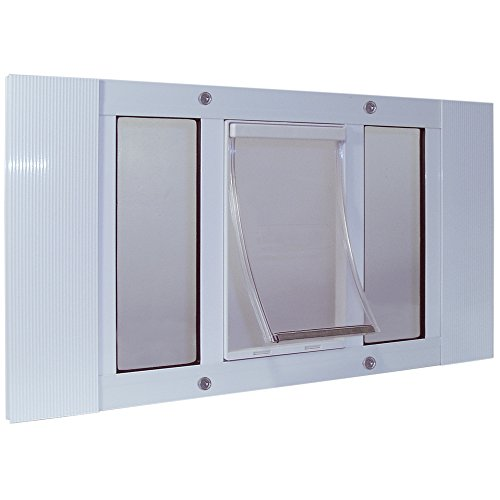"Ideal Pet Products 33SWDM Aluminum Sash Window Pet Door, Medium/7"" x 11.25"", White from Ideal Pet Products"