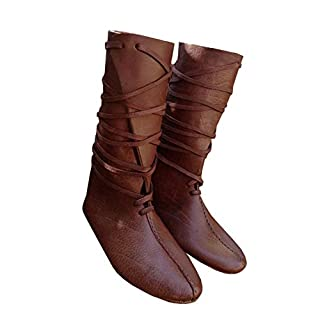 Mens Renaissance Medieval Cosplay Halloween Boots Faux Leather Knee High Lace Up Vintage Stage Pirate Viking Tied Shoes