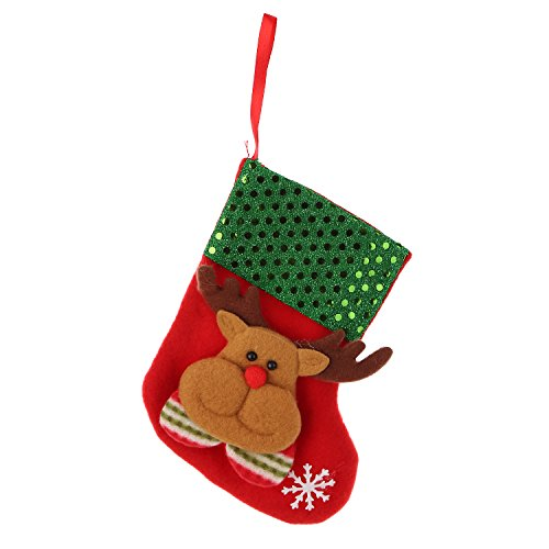 Santa Mini Stocking (TZINSUN Mini Christmas Stockings Gift & Treat Bag, Santa Claus Stockings Holiday Candy Bag Basket for Gifts,Small Rustic Felt Green XMAS Tree Decoration Set Favors and Decorating(Pack of 5))