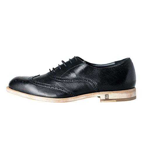 Versace Collezione Uomo Pelle Nero Wingtip Oxford Scarpe Casual Taglia Us 9 It 42