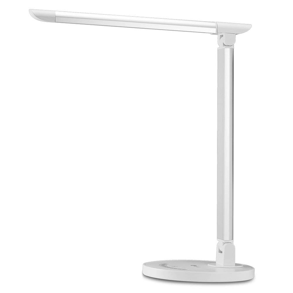 TaoTronics LED Desk Lamp, Eye-caring Table Lamps, Dimmable Office Lamp with USB Charging Port, Touch Control, 5 Color Modes, White, 12W (Renewed) by TaoTronics