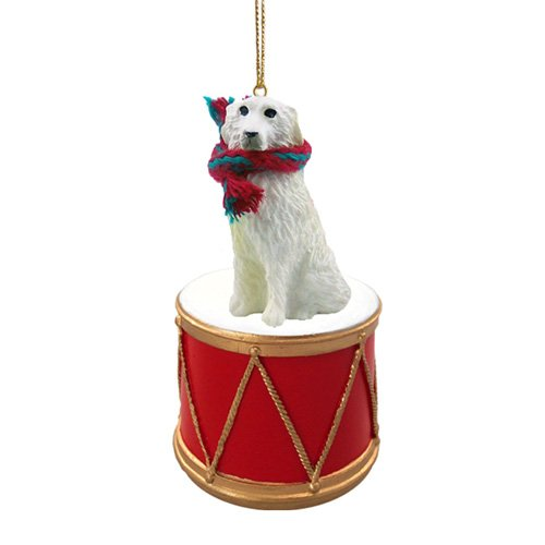 Little Drummer Great Pyrenees Christmas Ornament - Hand Painted - Delightful