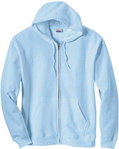 Hanes B280 Premium Cotton Full-Zip Hoodie M Light Blue
