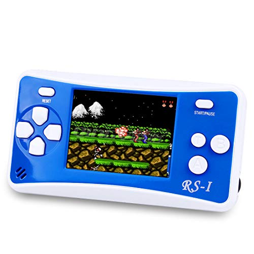 """Sollop RS-1 Handheld Game Console for Children,The 80's Arcade Retro Game Player with 2.5"""" 8-Bit LCD Portable Video Games Can Connected TV,Built-in 152 Classic Old School Games Entertainment(Blue)"""