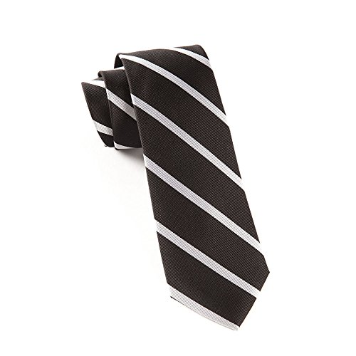 The Tie Bar 100% Woven Silk Black and White Trad Striped 2 1/2 Inch Skinny ()