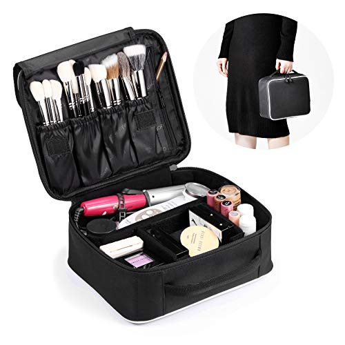 ROWNYEON Makeup Train Case Makeup Travel Bag Mini Cosmetic Bag Organizer Professional Portable Cosmetic Makeup Case for Women Storage Bag 9.8'' Mini, Black with White Edge