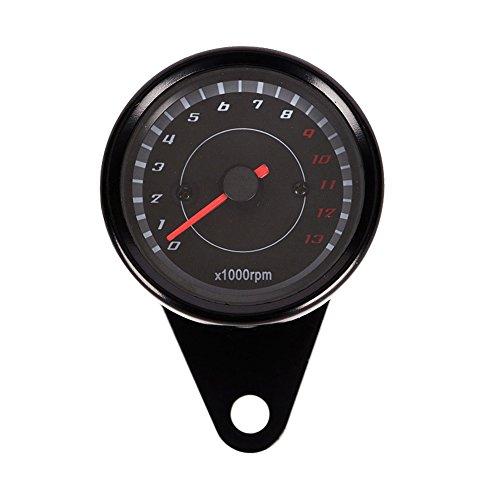 WinnerEco Universal 12V Backlight LED Night Light Tachometer Tacho Gauge for Motorcycle